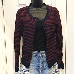 H&M BASIC Blue Maroon Striped Cardigan